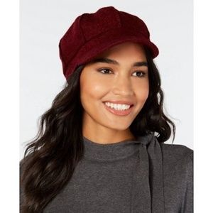 Newsboy Cap Polyester Wool Blend Boucle Deep Red